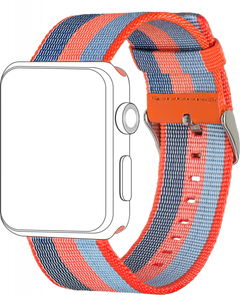 topp - Armband Apple Watch 42/44 mm, Nylon, orange blue
