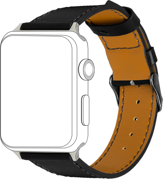 topp - Armband Apple Watch 42/44 mm, Leather, black, seam