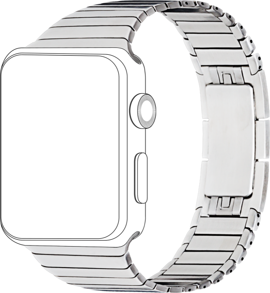topp - Armband Apple Watch 42/44 mm, Metal, silver