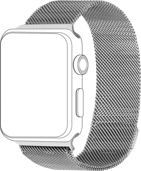 topp - Armband Apple Watch 42/44 mm, Mesh, silver