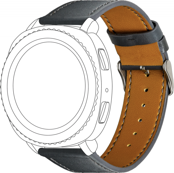 topp - Armband Samsung Galaxy 42mm/Active/Sport, Leather, grey