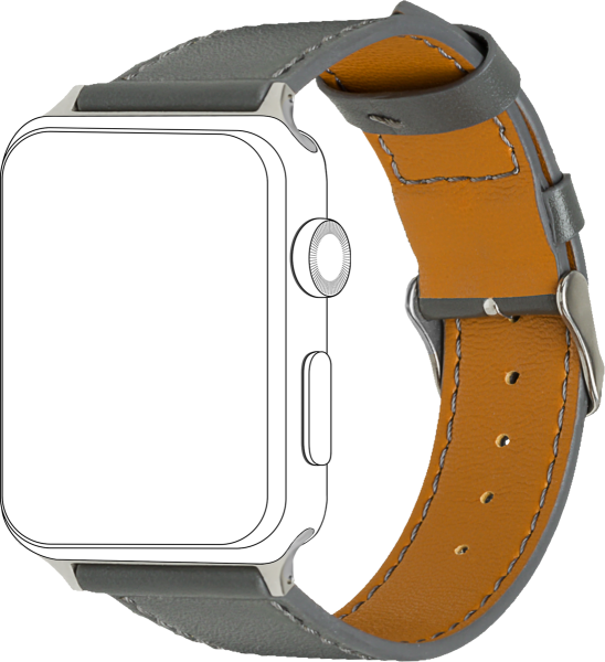 topp - Armband Apple Watch 42/44 mm, Leather, grey, seam