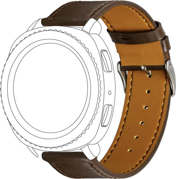 topp - Armband Samsung Galaxy 42mm/Active/Sport, Leather brown