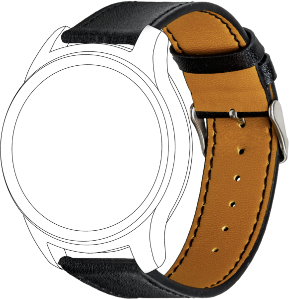 topp - Armband Samsung /Garmin / Huawei, Leather, black, seam