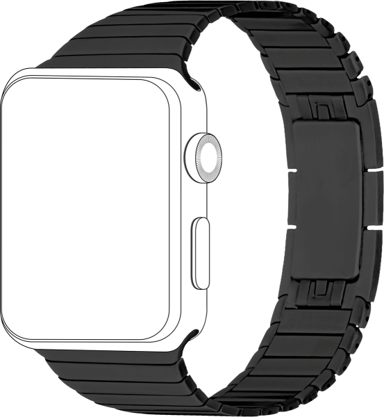 topp - Armband Apple Watch 42/44 mm, Metal, black