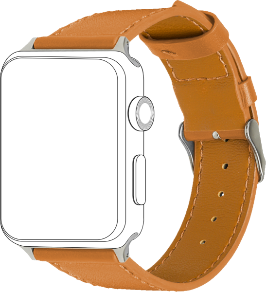 topp - Armband Apple Watch 42/44 mm, Leather, caramel, seam