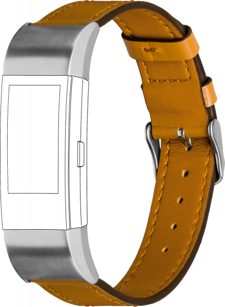 topp - Armband Fitbit Charge 2, Leather, caramel, seam