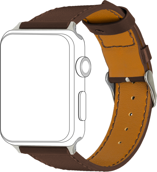 topp - Armband Apple Watch 42/44 mm, Leather, brown, seam