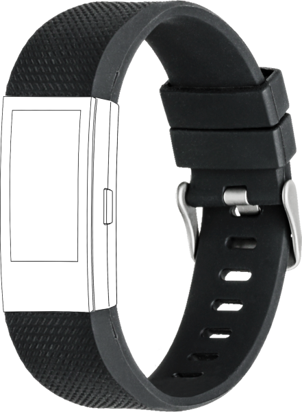 topp - Armband Fitbit Charge 2, Silicone, black