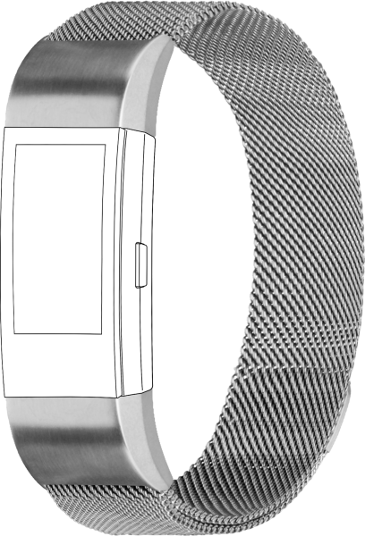 topp - Armband Fitbit Charge 2, Mesh, silver