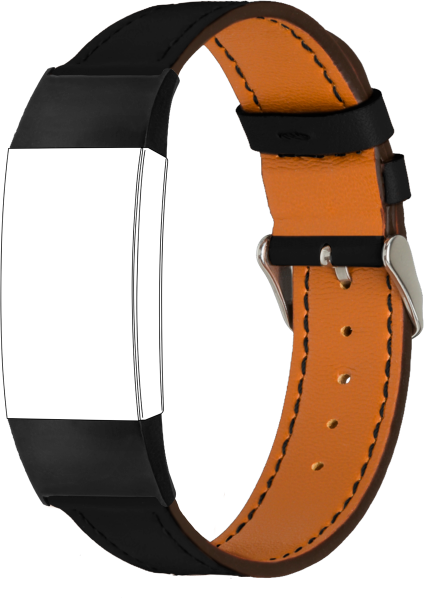 topp - Armband Fitbit Charge 3/Charge 4, Leder, schwarz