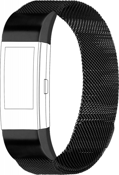 topp - Armband Fitbit Charge 2, Mesh, black