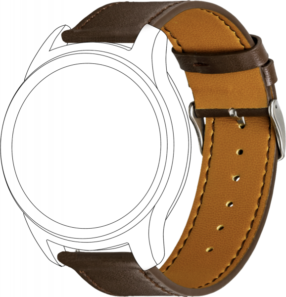 topp - Armband Samsung/Garmin/Huawei, Leather, brown, seam