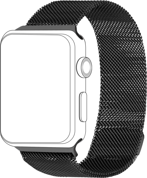 topp - Armband Apple Watch 42/44 mm, Mesh, black